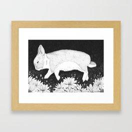 bunny in black and white Framed Art Print