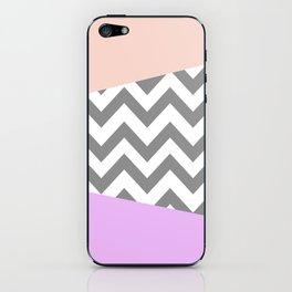 gray, purple, and coral chevron iPhone Skin