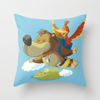 banjo Throw Pillows featuring Banjo by Rod Perich