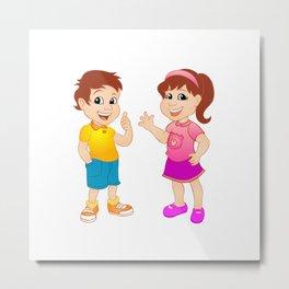 Boy and girl. Metal Print