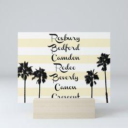 Beverly Hills Street Names Palm Trees Yellow Stripes Mini Art Print