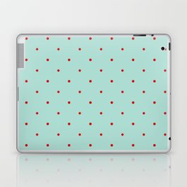Blue with Red Dots Laptop & iPad Skin