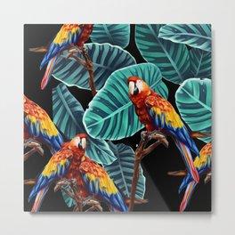 tropical leaves macaw pattern 2 Metal Print