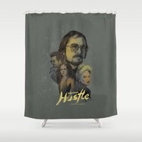 hustle Shower Curtains featuring American Hustle by RJ Artworks