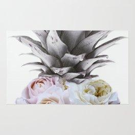 Pineapple, Vintage, Retro, Floral Blush Pink Roses Rug