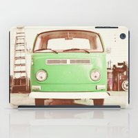volkswagon iPad Cases featuring Vintage Volkswagen Bus (Green Edition) by Laura Ruth