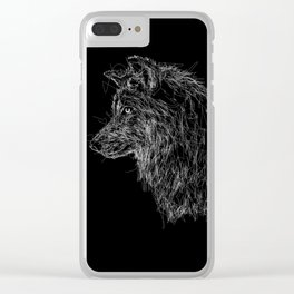 wolf scribble Clear iPhone Case