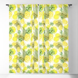 Pineapple Watercolor Fresh Summer Fruit Blackout Curtain