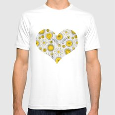 Whimsical flowers in yellow MEDIUM Mens Fitted Tee White