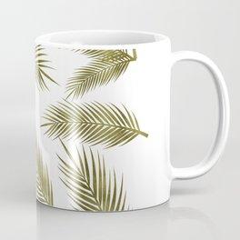 Green Gold Glitter Tropical Leaves Coffee Mug