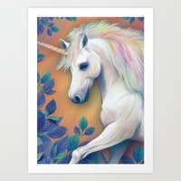 unicorn Art Prints featuring Unicorn by ShannonPosedenti