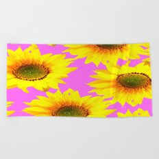 Large Sunflowers on a pink background - #Society6 #buyart Beach Towel