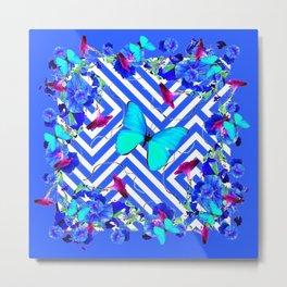 Geometric  Blue Butterflies &  Purple Morning Glories Metal Print