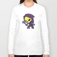skeletor Long Sleeve T-shirts featuring Lil Skeletor by Cynthia Vasquez