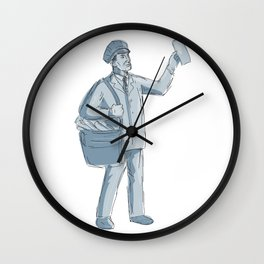 Vintage Postman Holding up Letter Drawing Wall Clock