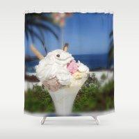 ice cream Shower Curtains featuring Ice Cream by MehrFarbeimLeben
