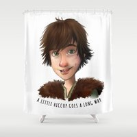hiccup Shower Curtains featuring A little Hiccup goes a long way by Fla'Fla'