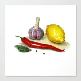 country still-life whit lemon, red hot chilly pepper and garlic Canvas Print