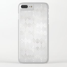 Metallic Silver Geometric Clear iPhone Case