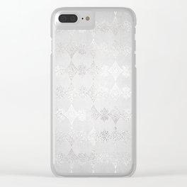Metallic Silver Geometric Clear iPhone Case