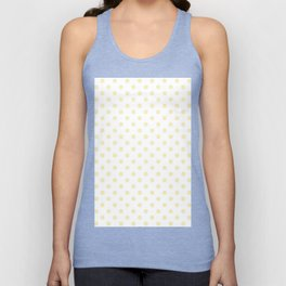 Small Polka Dots - Blond Yellow on White Unisex Tank Top