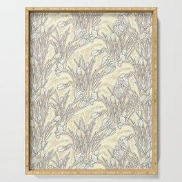 White Crocuses, Garden Flowers Botanical Floral Pattern, Cream Vanilla Serving Tray