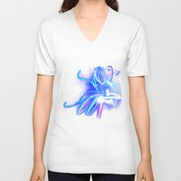 neon V-neck T-shirts featuring Neon by Monica Ortel ❖