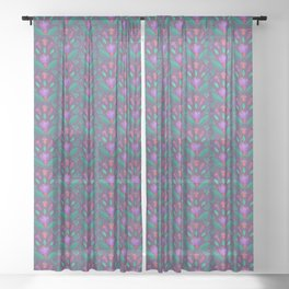 Kurbits Pattern - Balance - Scandinavian Folk Art Sheer Curtain