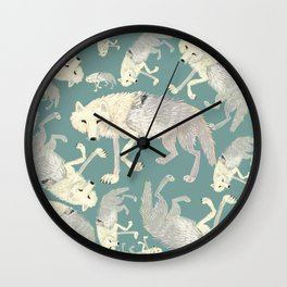 Totem Artic Wolf Turquoise Wall Clock