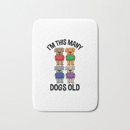 I'm This Many Dogs Old 4 Yr Boy Girl Birthday Idea Bath Mat