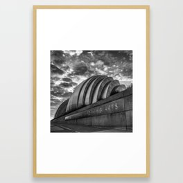 Kansas City Kauffman Center with Moody Clouds - Square Monochrome Framed Art Print