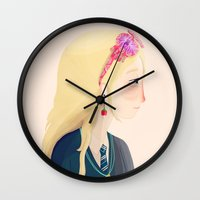 luna lovegood Wall Clocks featuring Luna by Nan Lawson