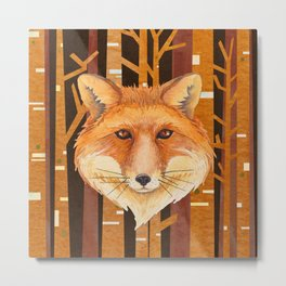 Fox Wild animal in the forest- abstract artwork #Society6 Metal Print