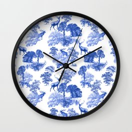 Classic French Toile Countryside Deer Pattern Wall Clock