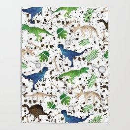 Watercolor Dinosaurs Poster