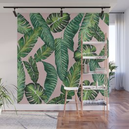 Jungle Leaves, Banana, Monstera II Pink #society6 Wall Mural