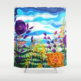 Summer Spectacular, Abstract Floral Landscape, Bright Wild Flowers Shower Curtain