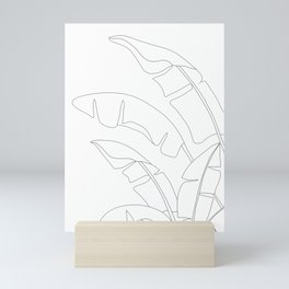 Minimal Line Art Banana Leaves Mini Art Print