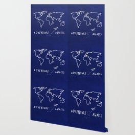Adventure Map - Navy Blue Wallpaper
