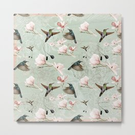 Vintage Watercolor hummingbird and Magnolia Flowers on mint Background Metal Print