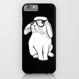 Cute Rabbit Bunny Nerd With Geek Glasses iPhone Case