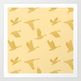 Flying Birds Pattern | Golden Mood Art Print