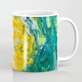 """Enthusiasm"" abstract art in yellow & green Coffee Mug"