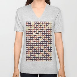 geometric square and circle pattern abstract in brown Unisex V-Neck