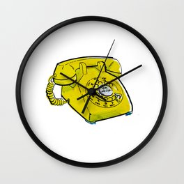 Rotary Yellow Telephone Wall Clock