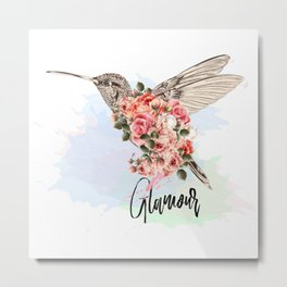 Hummingbird and roses. Romantic design Metal Print