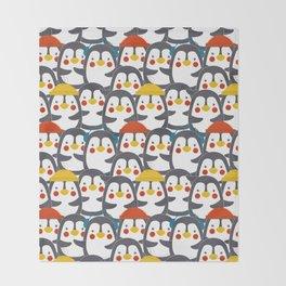 Happy Penguin Family Throw Blanket