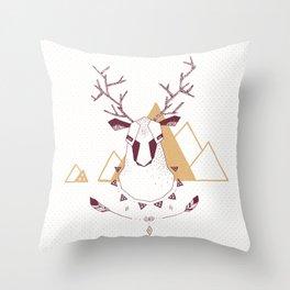 Christmas Geo Deer 2 Throw Pillow