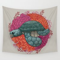 turtle Wall Tapestries featuring Turtle by ErDavid