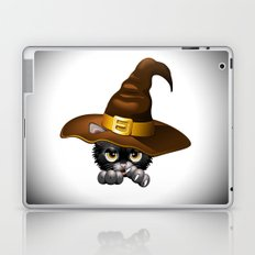 Black Kitten Cartoon With Witch Hat Laptop & iPad Skin